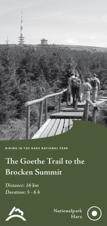 Title of the flyer 'The Goethe Trail to the Brocken Summit'