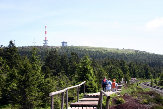 People on a wooden footpath, in the background the Brocken