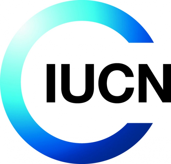 Logo der Weltnaturschutzunion IUCN (International Union for Conservation of Nature) zeigt einen nacht rechts offenen ring mit blauem Farbverlaub und den Buchstaben IUCN